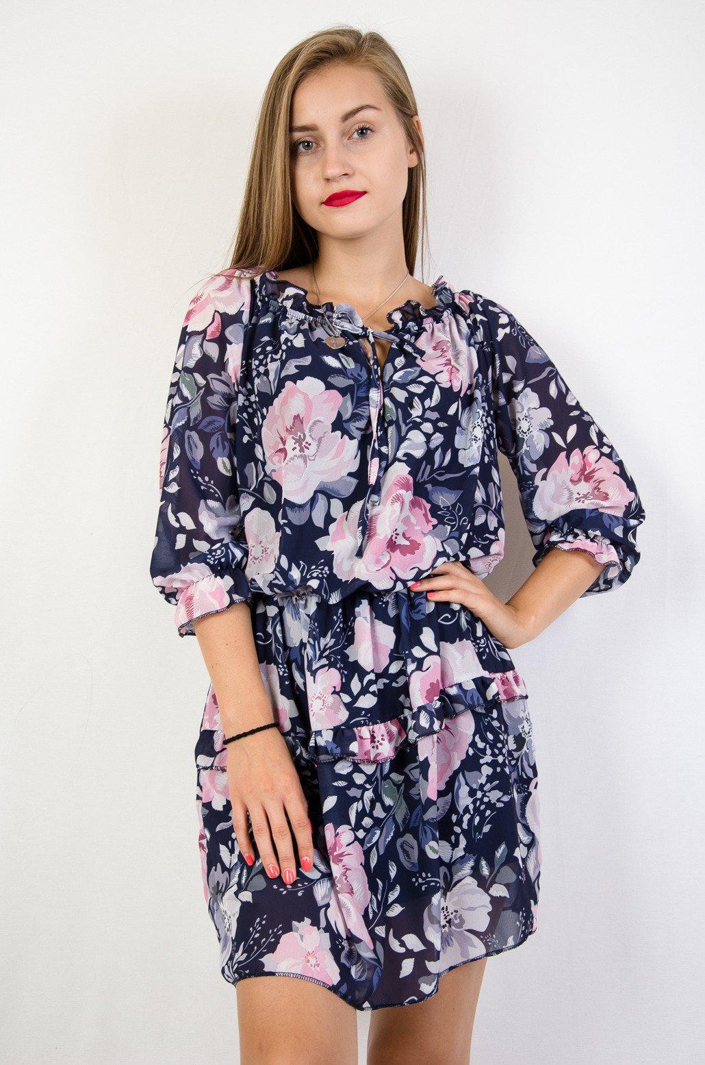 418610e2f3 Granatowa sukienka w różowe kwiaty ...