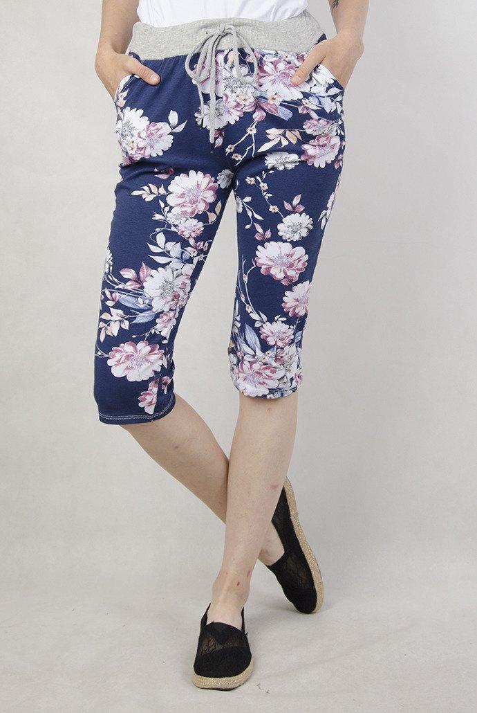Granatowe spodnie materiałowe 78, w kwiaty