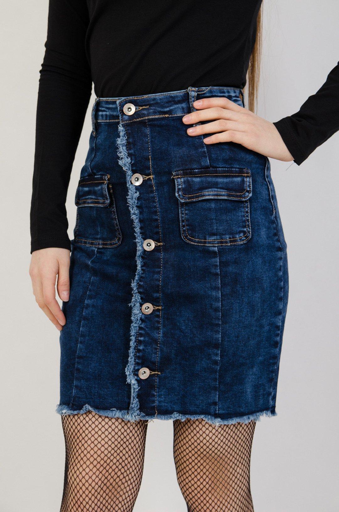 cfe8b187 Jeansowa spódnica zapinana na guziki