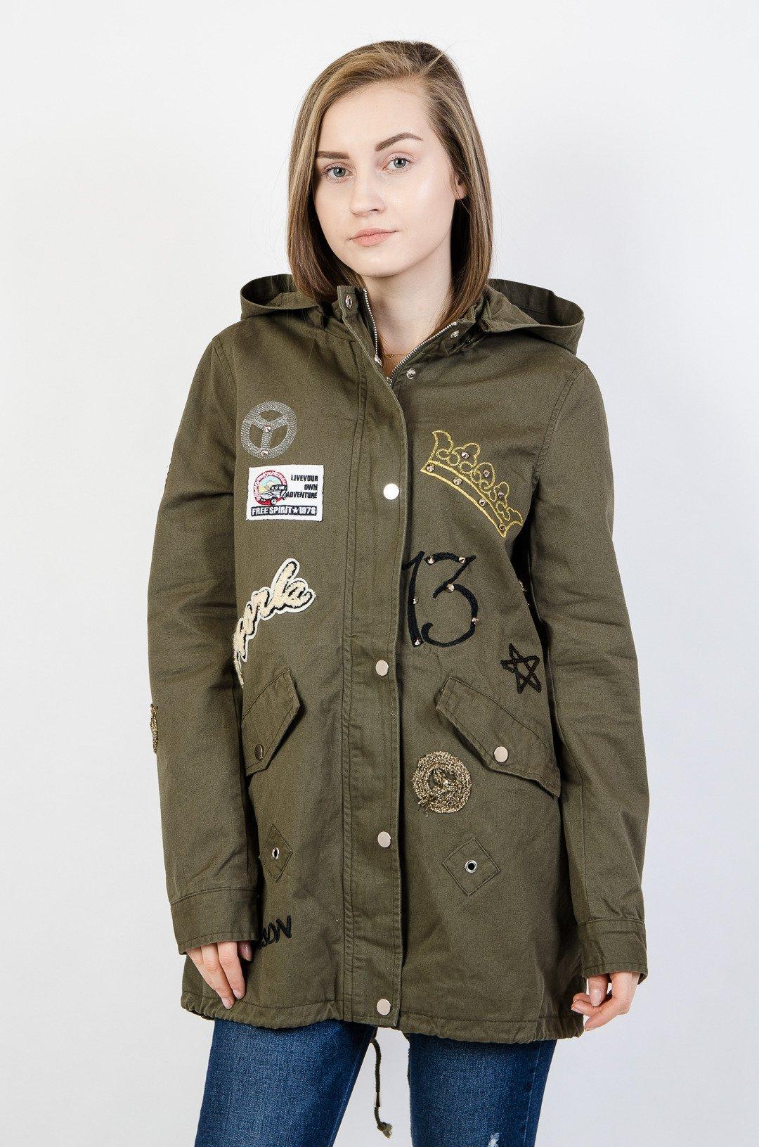 190099bf74f2 Khaki kurtka przejściowa z naszywkami