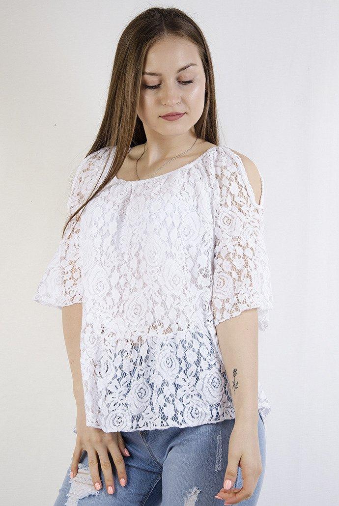 0bc84b7f3c60d9 Koronkowa biała bluzka z odkrytymi ramionami biały   KOLEKCJA ...