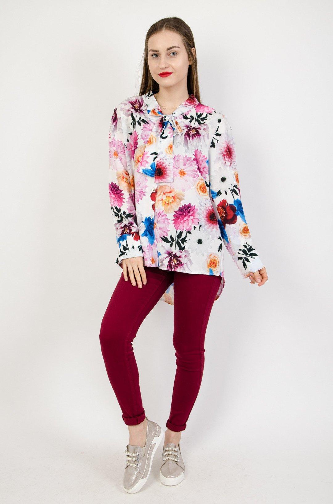 9d491a3c115c ... Koszula w kwiaty z wiązaniem przy szyi
