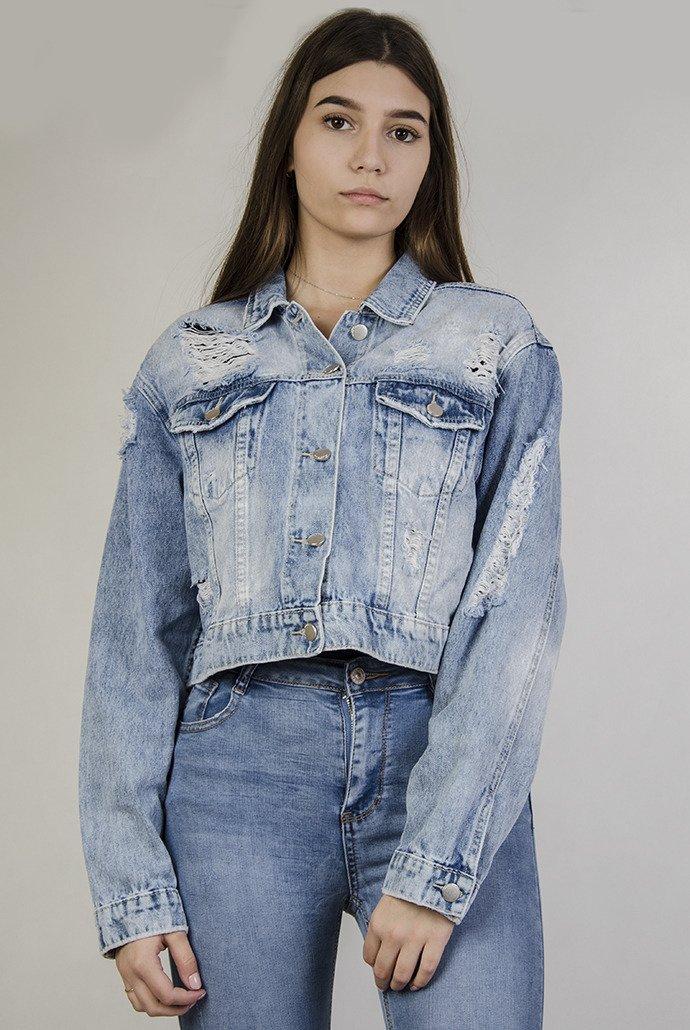 097a8a64e1af Kurtka jeansowa krótka z przetarciami oraz szarpaniami