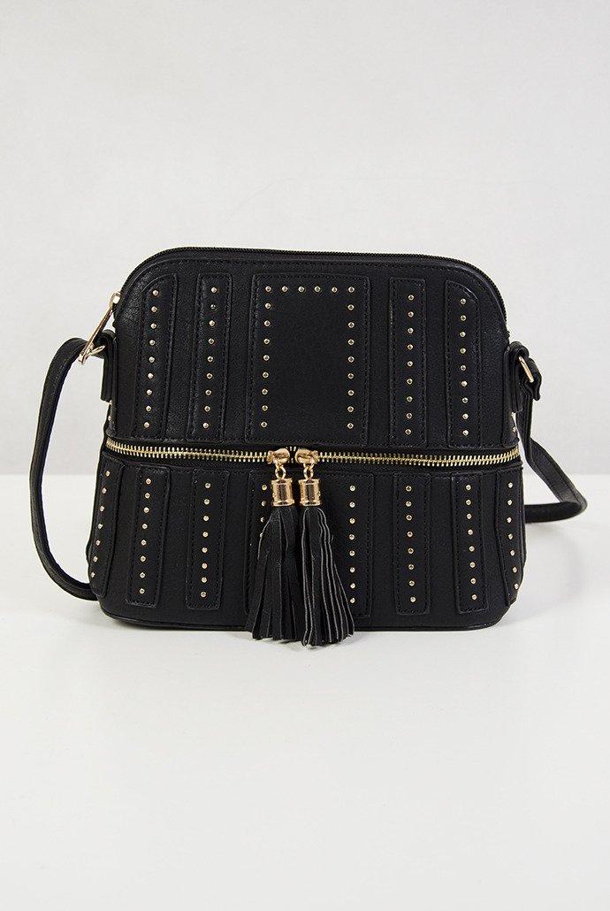 4b2ccba344bf5 Mała czarna torebka z ćwiekami czarny