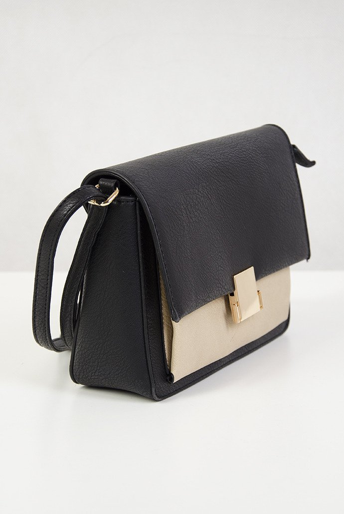 0717dea983145 Znane Mała czarno beżowa torebka ze złotą sprzączką czarno-beżowy JW-08