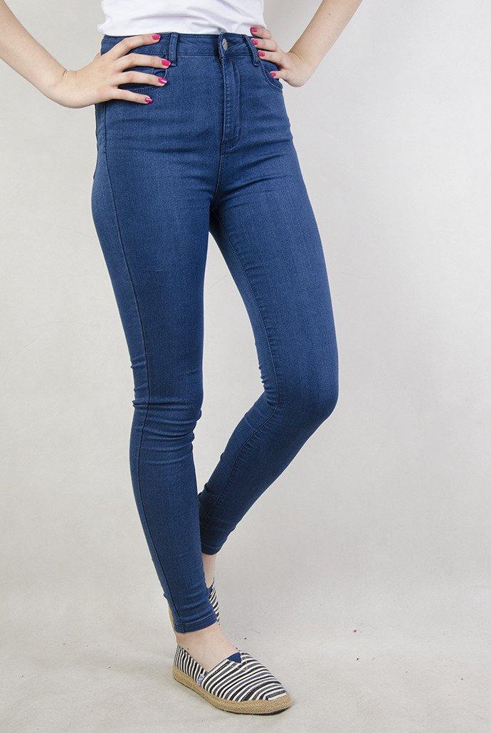 fdc74da1 Niebieskie spodnie skinny jeans z wysokim stanem