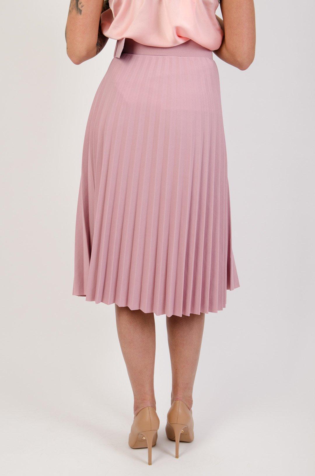 Plisowana spódnica z paskiem w kolorze brudnego różu