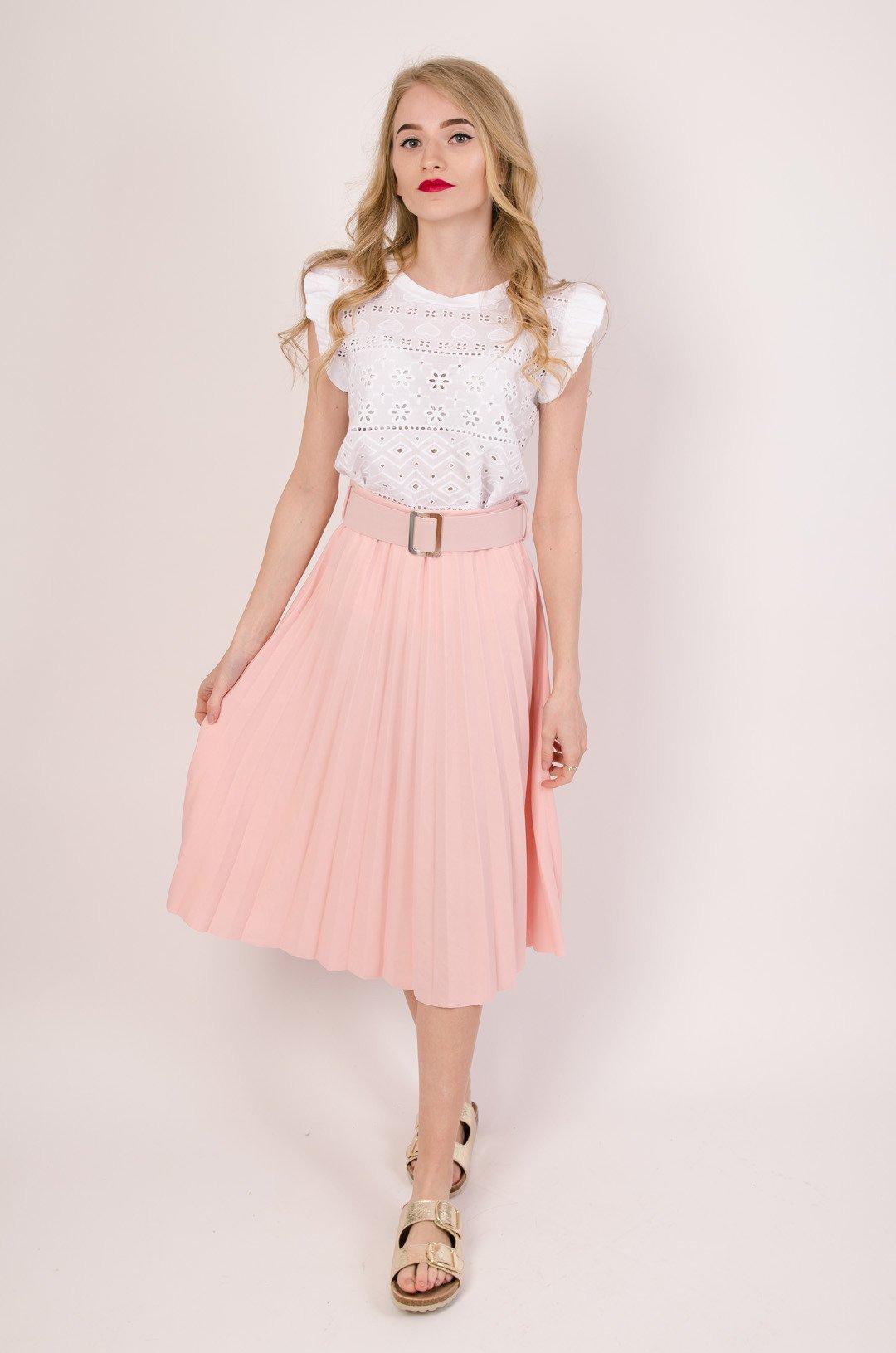 Plisowana spódnica z paskiem w kolorze jasnego różu