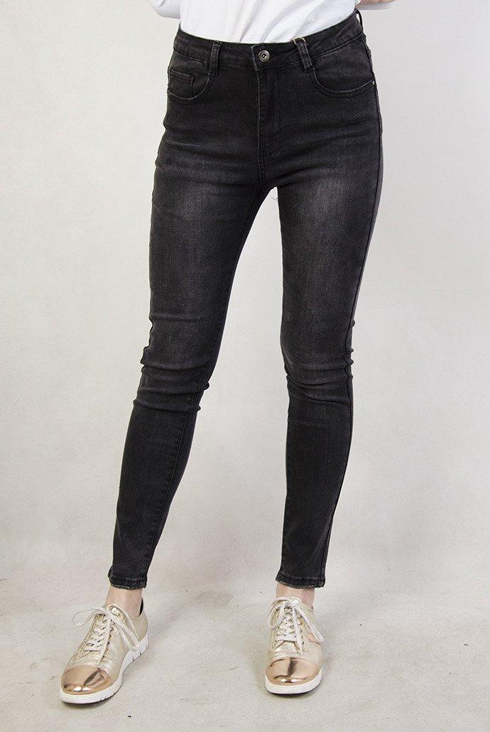 Rozmiary ( L 4 XL) Ciemnoszare spodnie jeansowe z wysokim stanem
