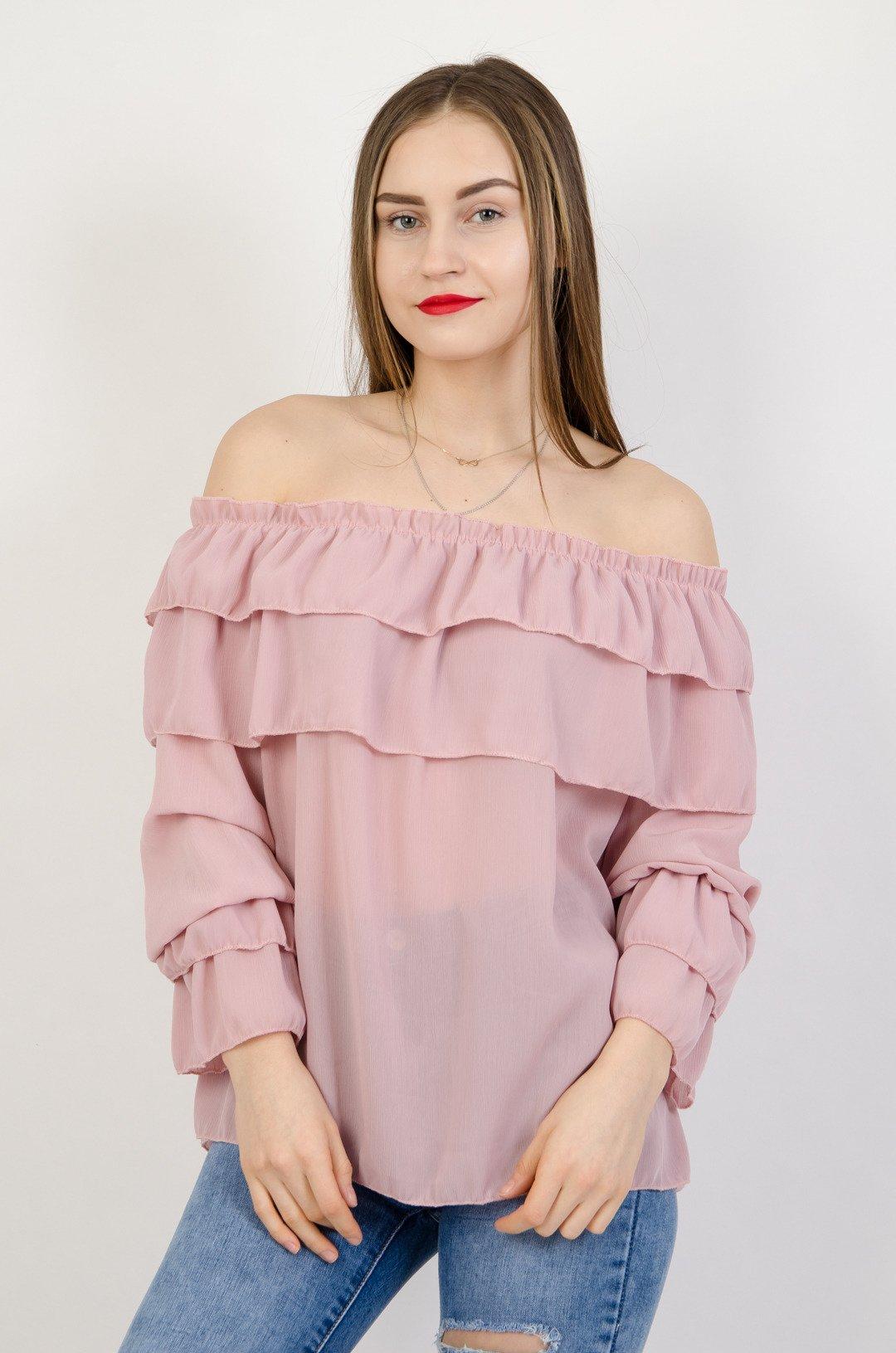 9a17fd32166f40 Różowa szyfonowa bluzka hiszpanka | NOWOŚCI KOLEKCJA \ Bluzki ...