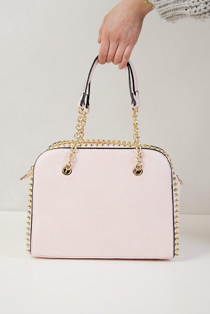 268f98d6c1753 Różowa torebka typu kuferek ze złotymi ćwiekami różowy   KOLEKCJA \  AKCESORIA \ Torebki WYPRZEDAŻ % - Olika