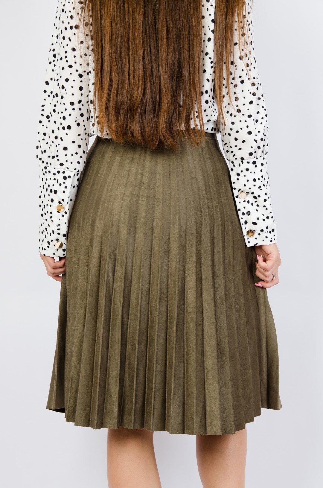 Spódnica zamszowa z plisowaniem Brązowy   NOWOŚCI KOLEKCJA
