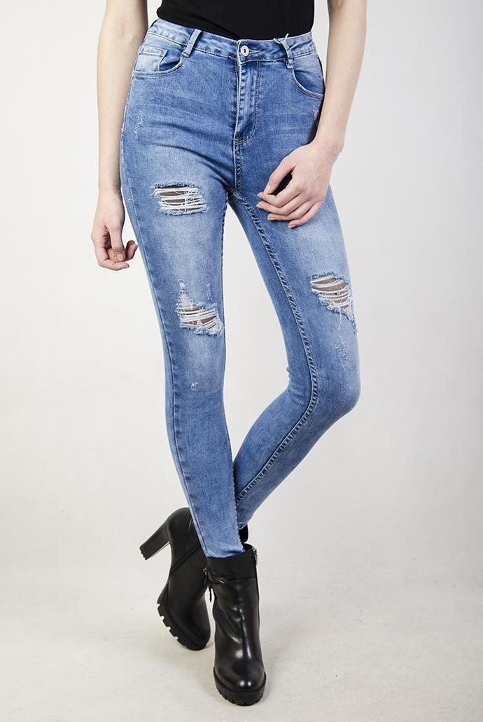 Spodnie jeansowe z wysokim stanem i dziurami