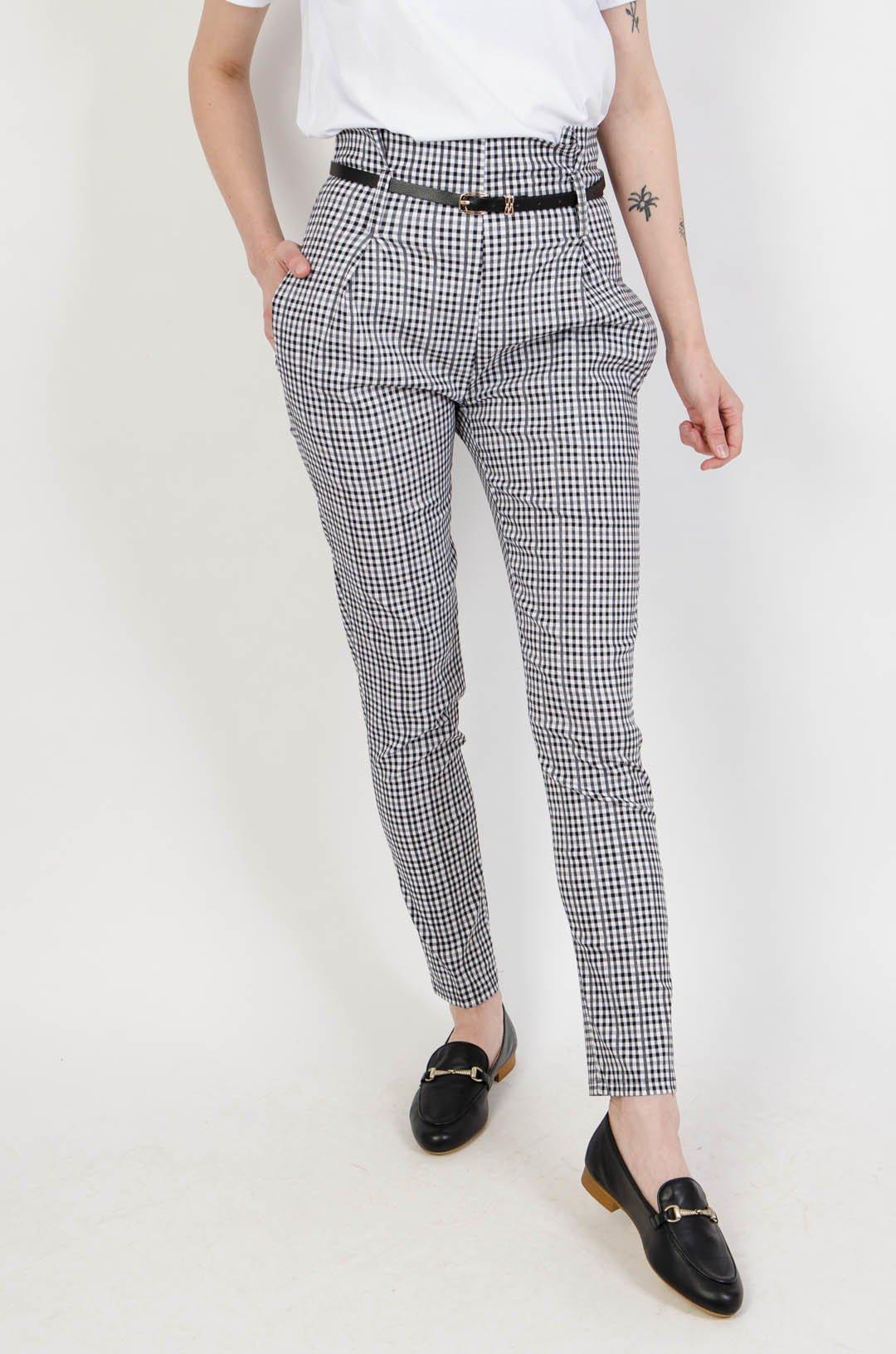 Spodnie w pepitkę z wysokim stanem + pasek