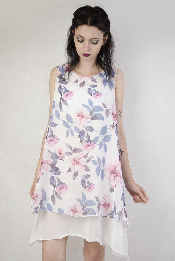 94cb725d5e Sukienka biała w różowe kwiaty ...