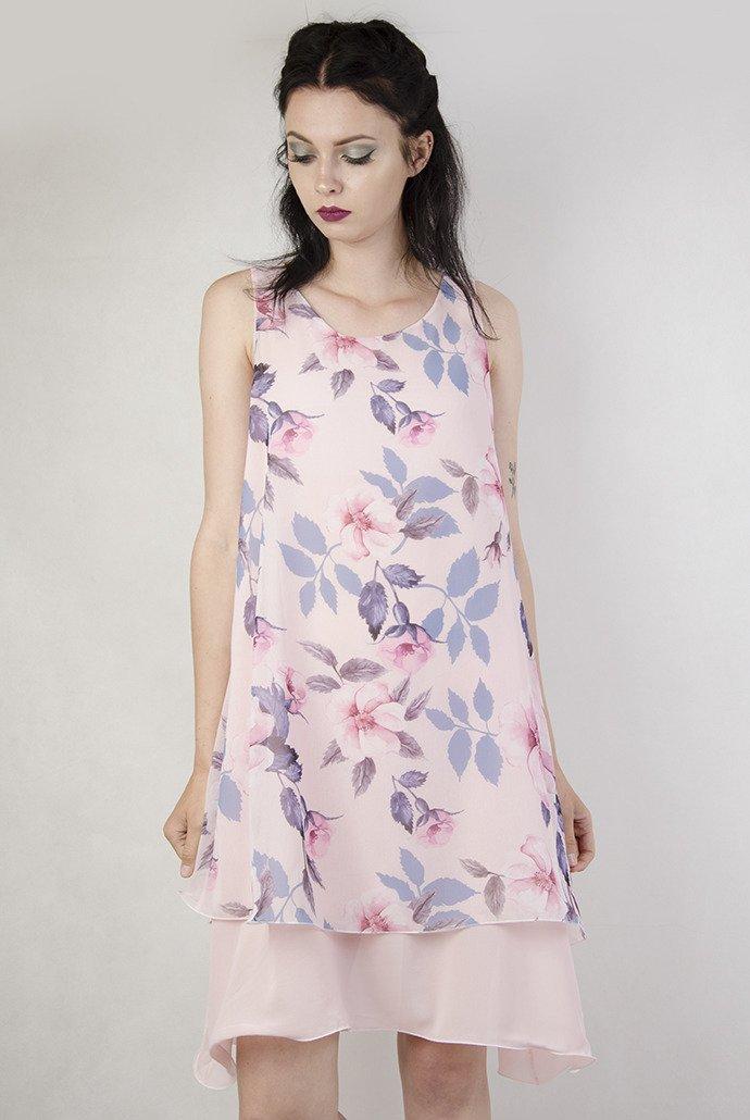 6328b7479a Sukienka różowa kwiaty ...
