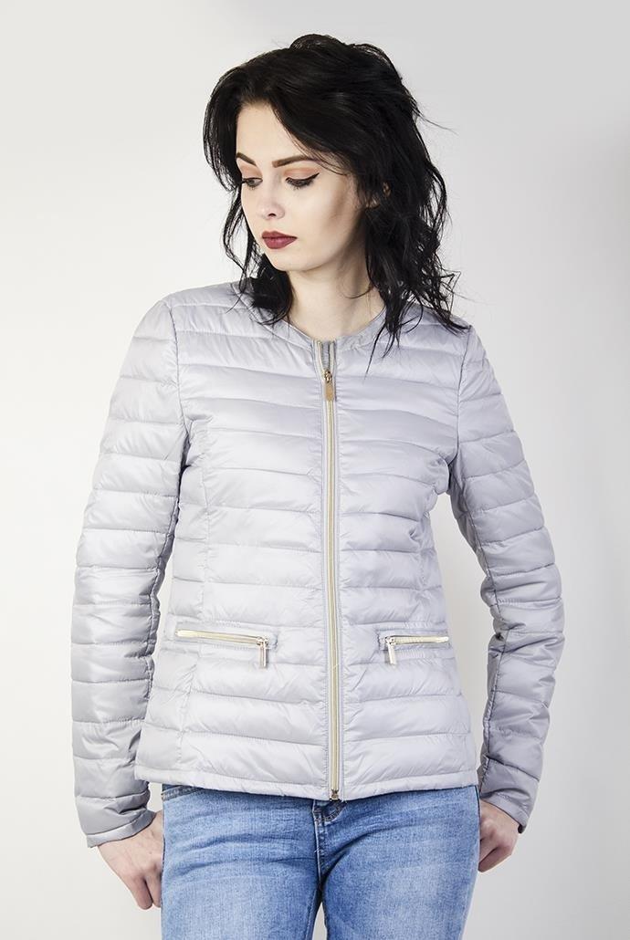 Szara kurtka pikowana z zamkami przy kieszeniach