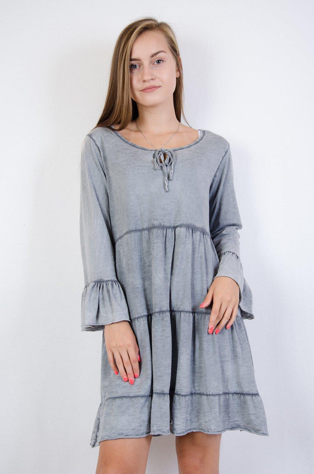 63125030a2 Szara warstwowa sukienka z falbanami na rękawie szara