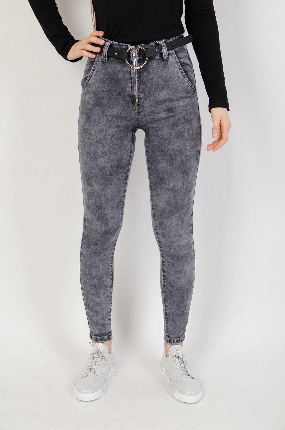 7b224444 Szare spodnie jeansowe z zamkiem z przodu