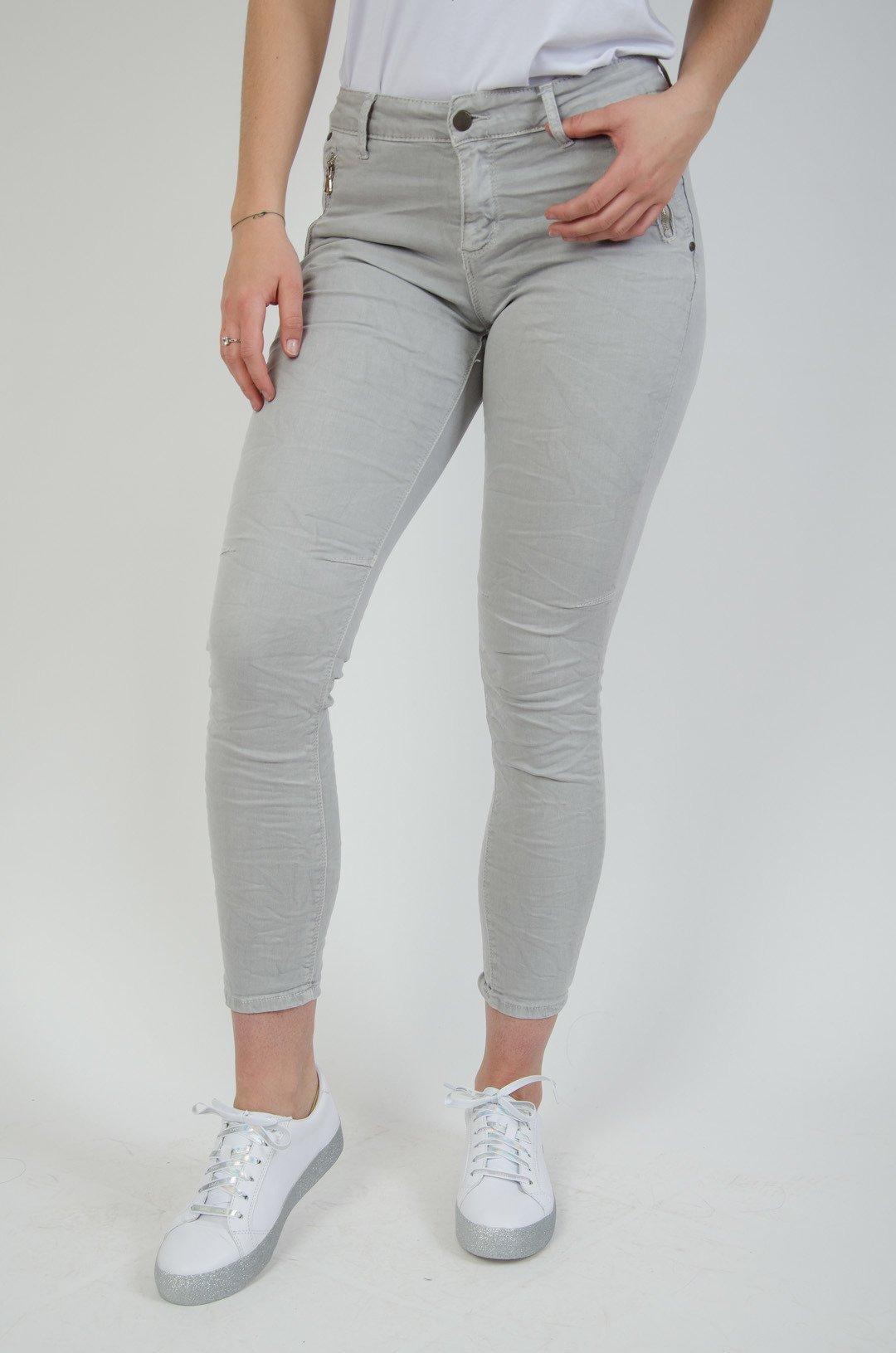 3cd42b25 Szare spodnie joggery z zamkami przy kieszeniach