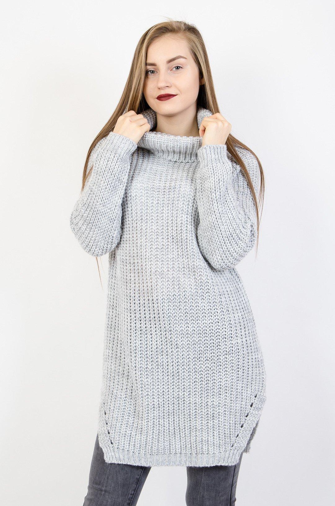 29ff6a975b Szary asymetryczny sweter z golfem szary