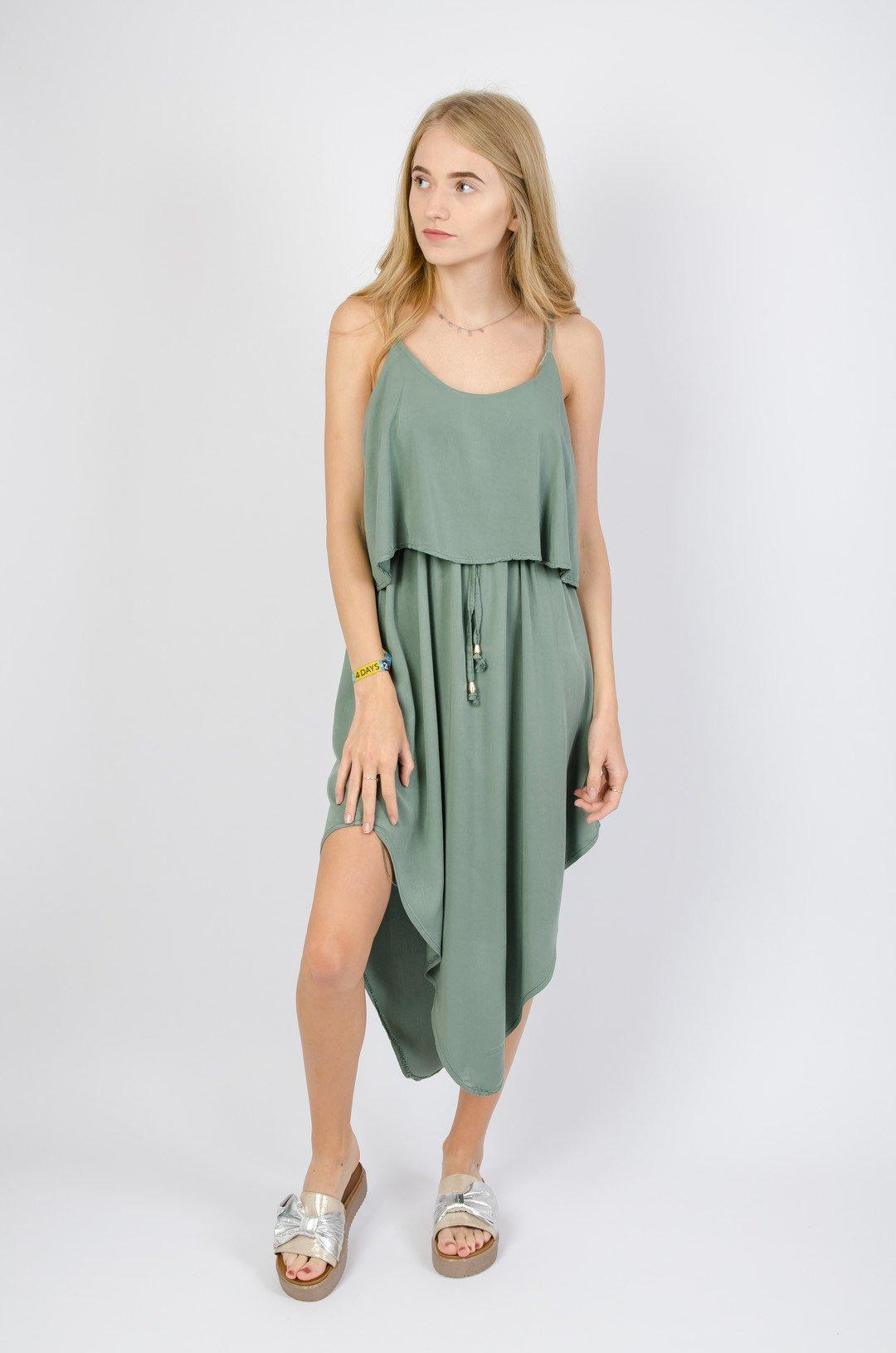 ac973b7e Zielona asymetryczna sukienka z crop topem
