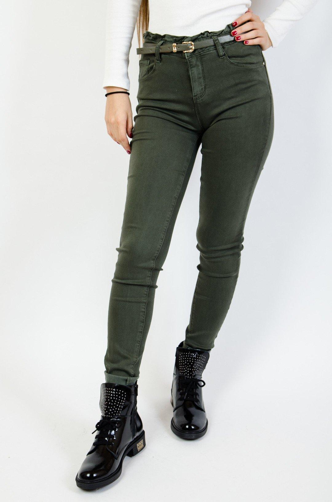 0be0d36f676f Zielone spodnie skinny z wysokim stanem + pasek Zielone