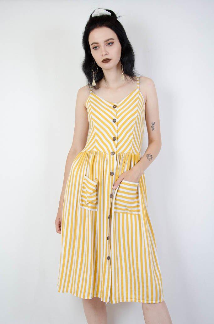 ef3f6ceaa2 Żółta sukienka w pasy na ramiączka Żółty