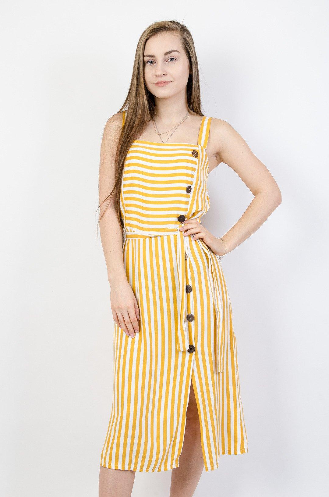 985d73dd23 Żółta sukienka w pasy na ramiączka na boku Żółty