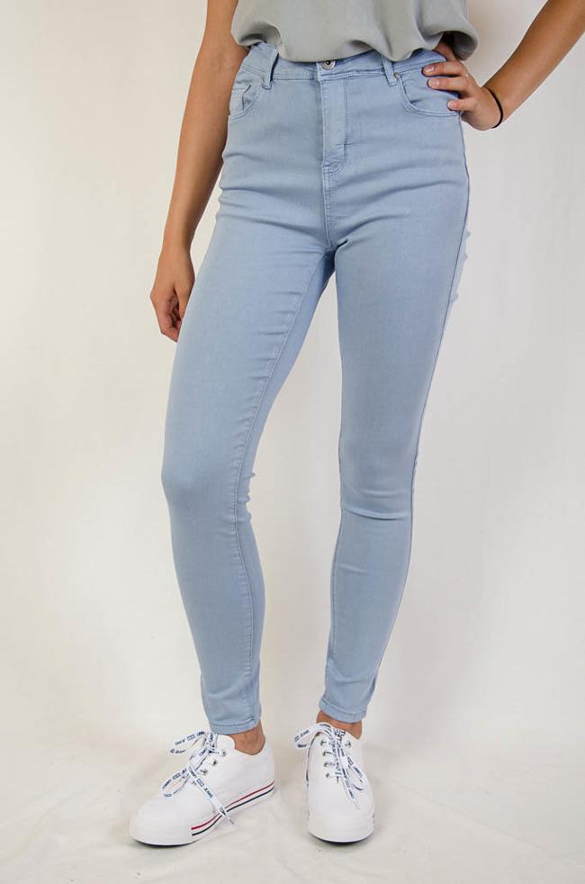 9aeeb3901a02 (DUŻE ROZMIARY M-XXXXL) Niebieskie spodnie z wysokim stanem