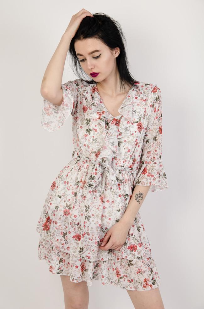 569ed36bbe Biała sukienka w drobne kwiaty z falbanami