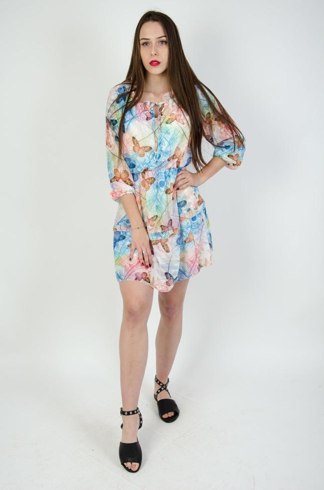 206dbb118b78 Biała sukienka w kolorowe wzory i motyle
