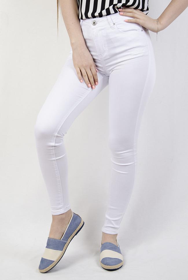 de4e8e5cc0 Białe spodnie przylegające z wysokim stanem