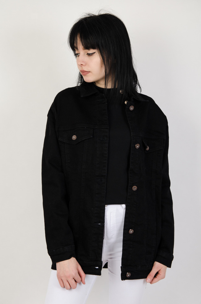 3deb7cc2dab08 Czarna kurtka jeansowa bez przetarć