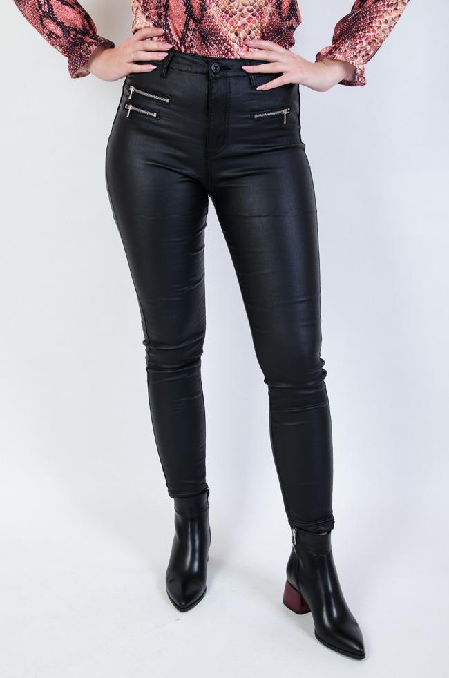 2324edccd346 Czarne spodnie skórkowe z zamkami duże rozmiary (m-4xl)