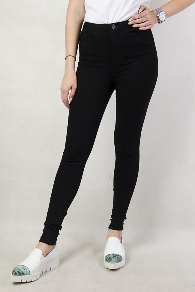 af730428 Czarne spodnie damskie z wysokim stanem, z dziurami, rurki - Olika