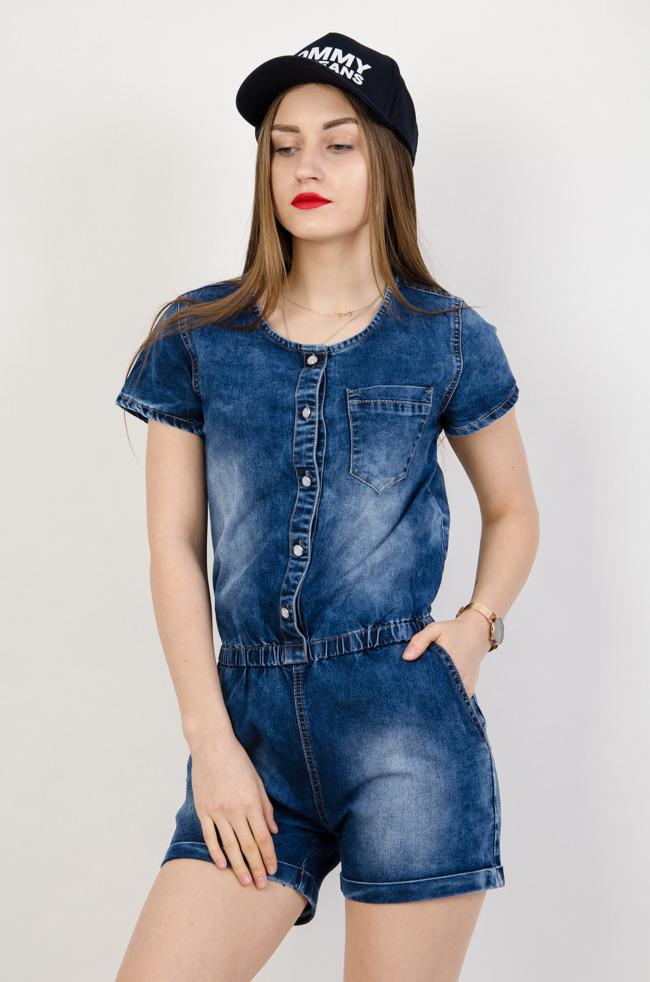 5ed673047d Krótki kombinezon jeansowy zapinany na guziki. Zobacz