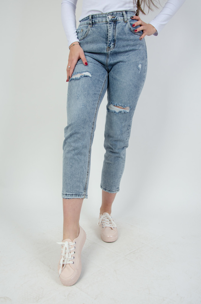 bc16c5fe44ad Spodnie jeansowe boyfriend z gumą w pasie